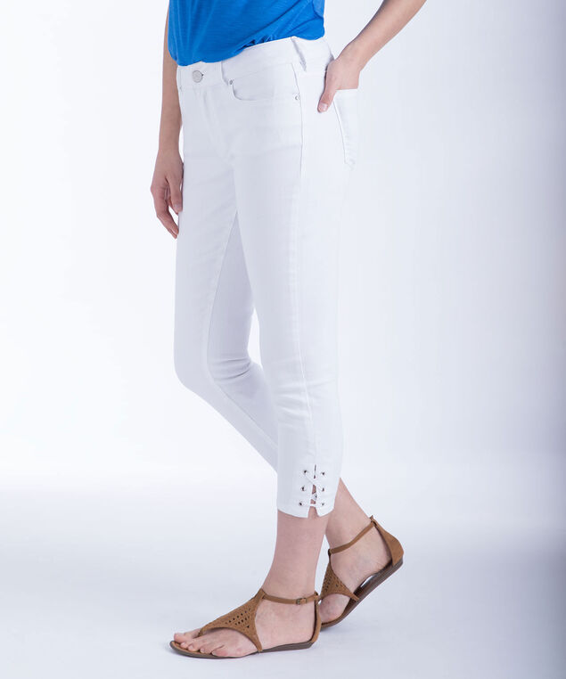 White Lace-up Denim Crops, True White, hi-res