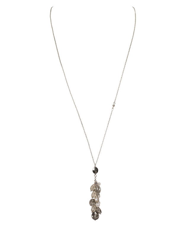 Beaded Cluster Pendant Necklace, Grey/White/Rhodium, hi-res