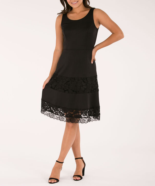 Lace Insert Fit & Flare Dress, Black, hi-res