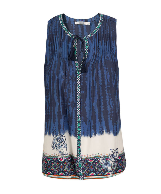 Sleeveless Tie-Dyed Henley Top, Blue Pattern, hi-res