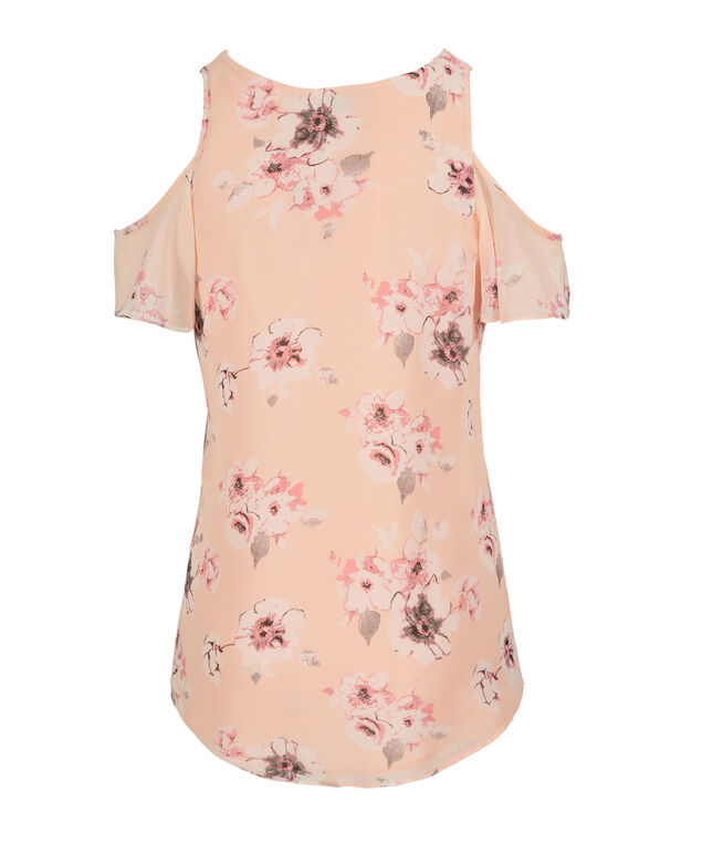 Cold-Shoulder V-Neck Blouse, Peach Print, hi-res