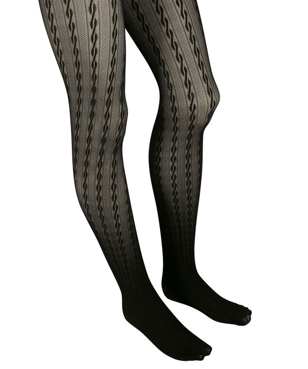 Cable Pattern Tights, Black, hi-res