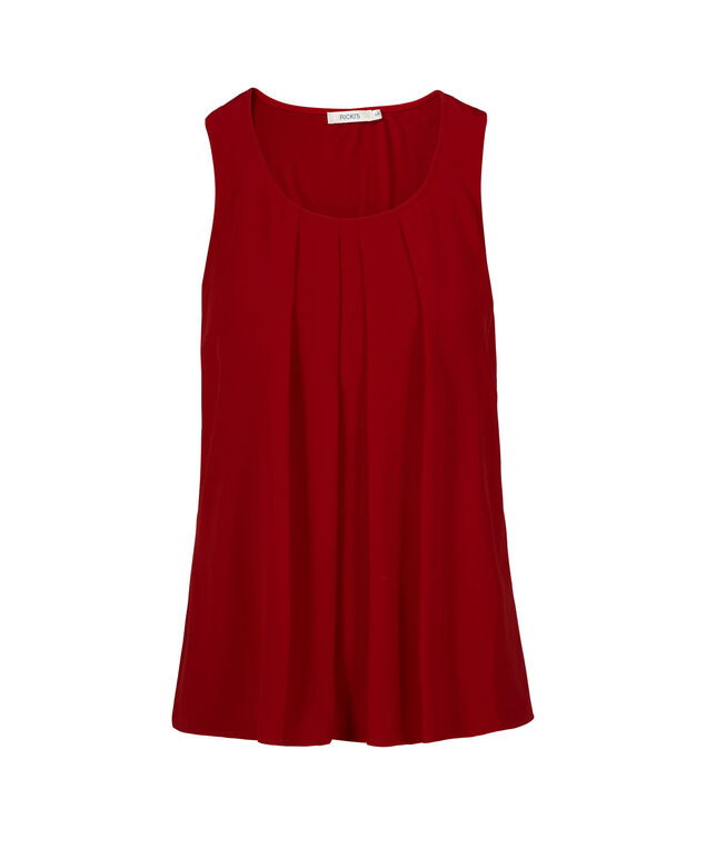 Sleeveless Pleat Neck, Crimson, hi-res
