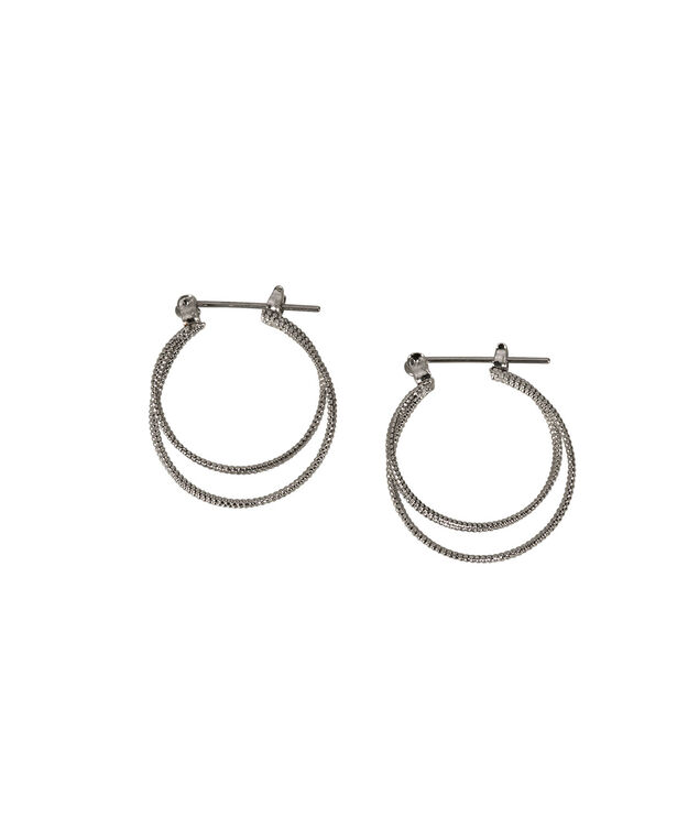 TEXTURED DOUBLE HOOP EARRING, Rhodium, hi-res