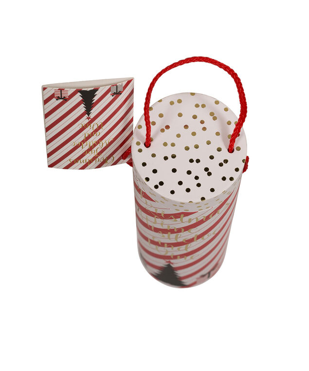 CHRISTMAS TIME Wine Gift Carrier, Red/White/Gold, hi-res