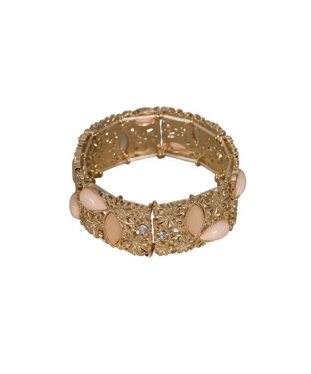 Faceted Stone & Floral Filigree Stretch Bracelet, Peach/Gold, hi-res