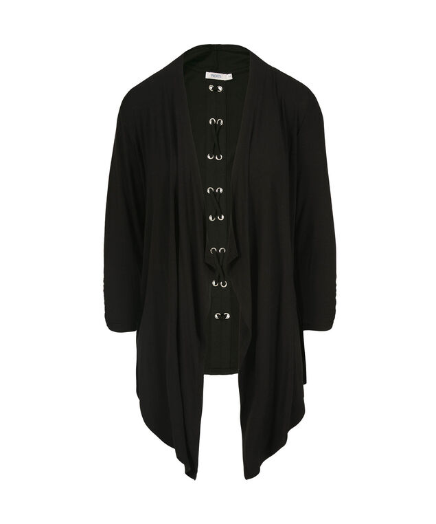 Drape Front Grommet Back Open Cardigan, Black, hi-res