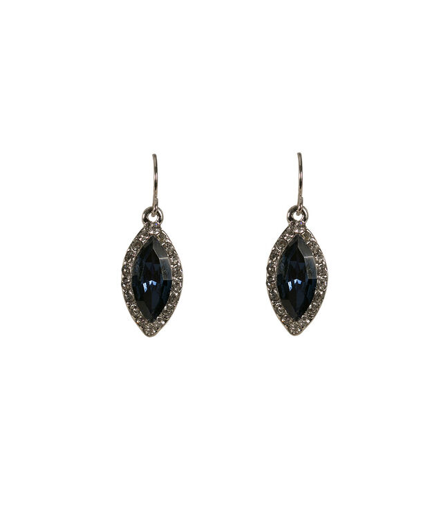 STONE & CRYSTAL EARRING, Dark Cobalt/Rhodium, hi-res