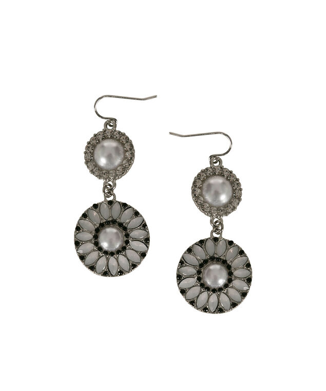 Pearl & Crystal Flower Drop Earring, White/Clear/Rhodium, hi-res