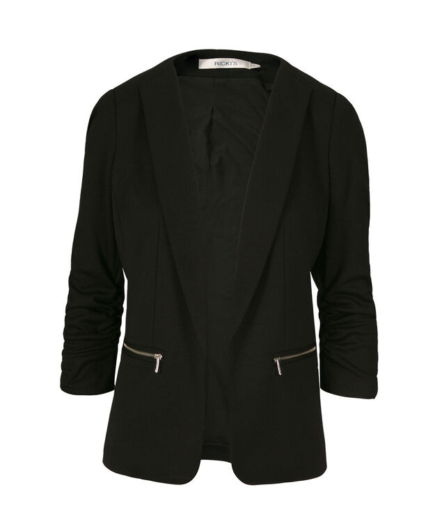 Zip-Pocket Open Blazer, Black, hi-res