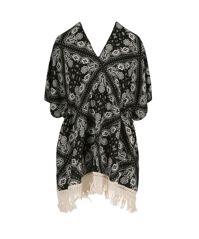Printed Poncho with Tassels, White/Black, hi-res