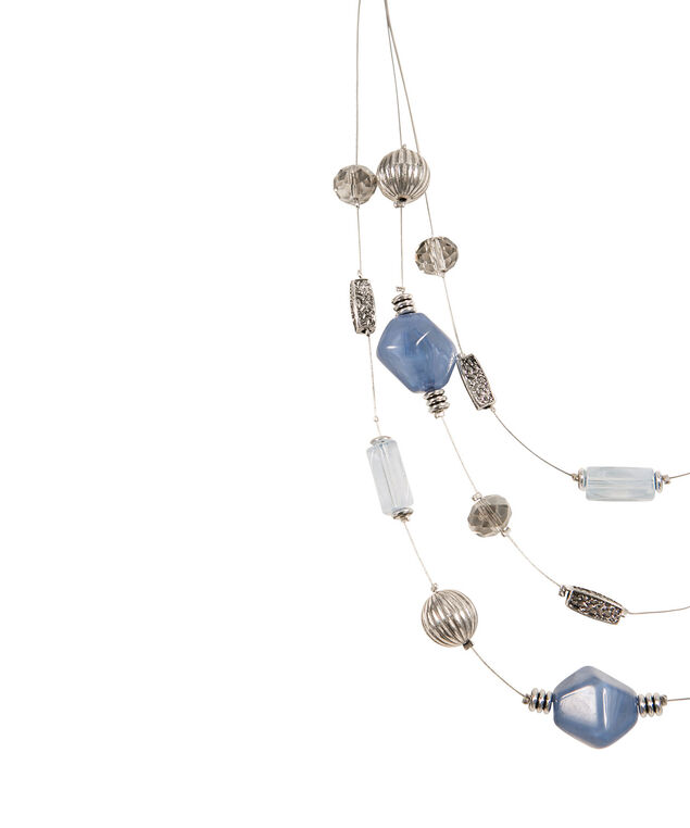 Triple Strand Stationed Bead Wire Necklace, Chalk Blue/Rhodium, hi-res