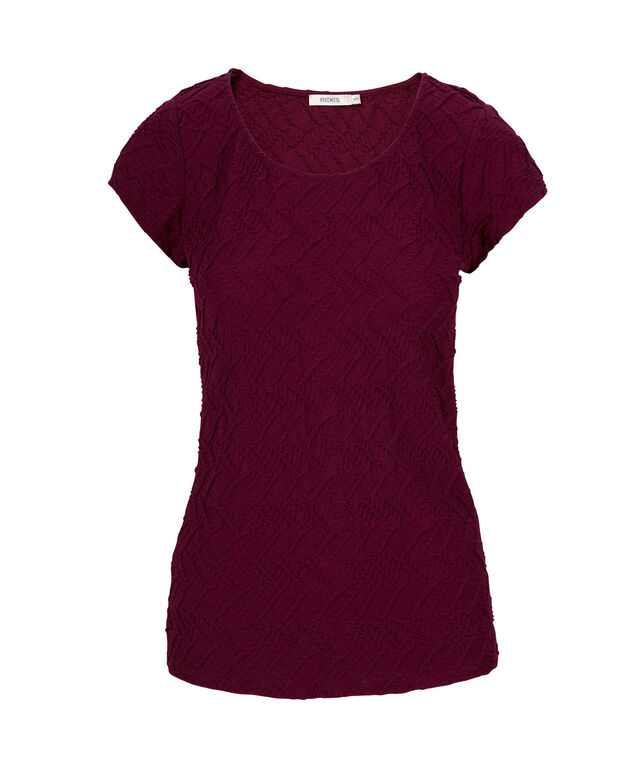 Textured Tee Shirt, Burgundy, hi-res
