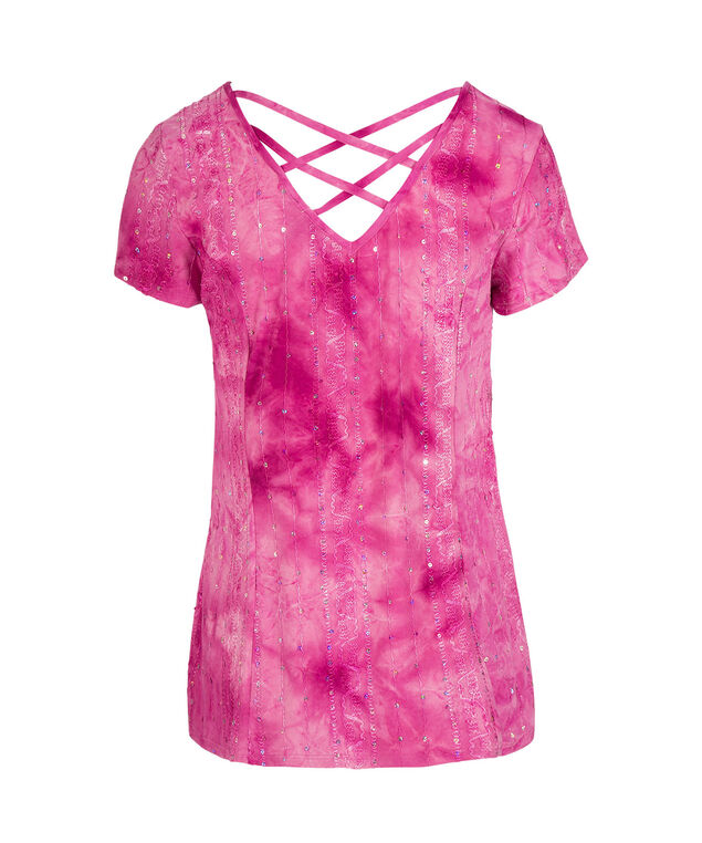 Embroidered Criss-Cross Back Top, Hot Pink, hi-res