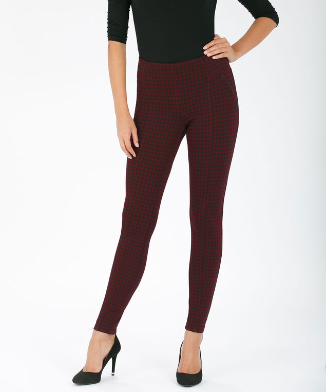 Luxe Ponte Legging, Burgundy/Black, hi-res