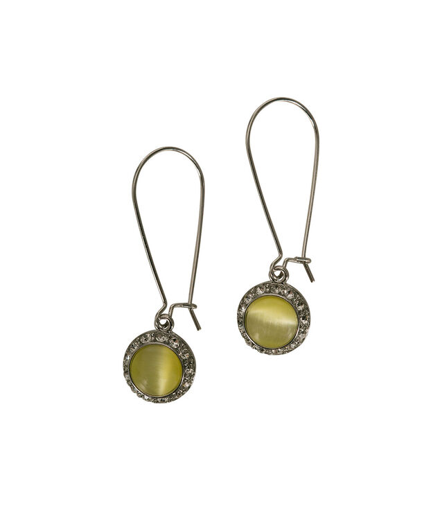 Crystal Frame Yellow Stone Drop Earring, Yellow/Clear/Rhodium, hi-res