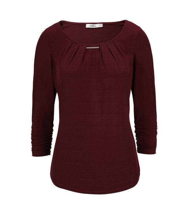Hardware Ruched Sleeve Top, Burgundy, hi-res