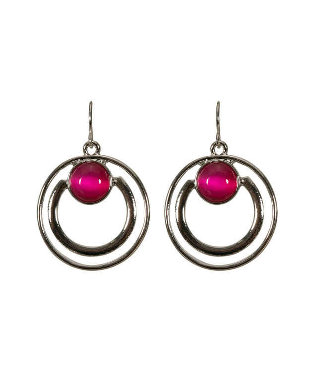 Double Circle Cateye Earring, Hot Pink/Rhodium, hi-res