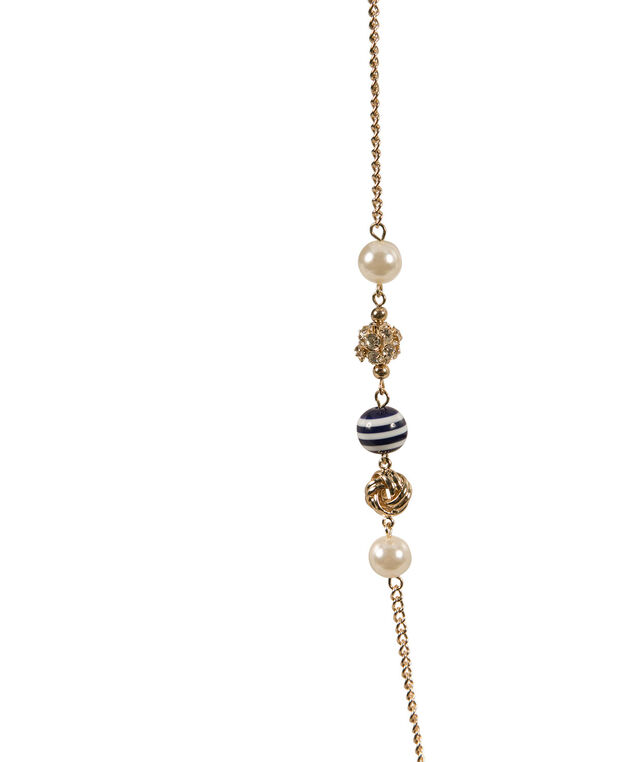 Striped Bead & Pearl Stationed Necklace, Navy/White/Soft gold, hi-res