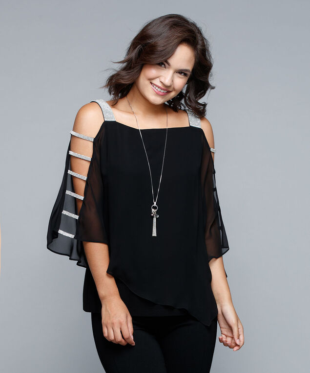 Crystal Trim Cape Overlay Top, Black, hi-res