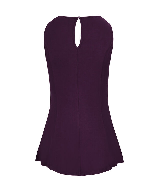 Sleeveless Seamed Peplum, Dark Plum, hi-res
