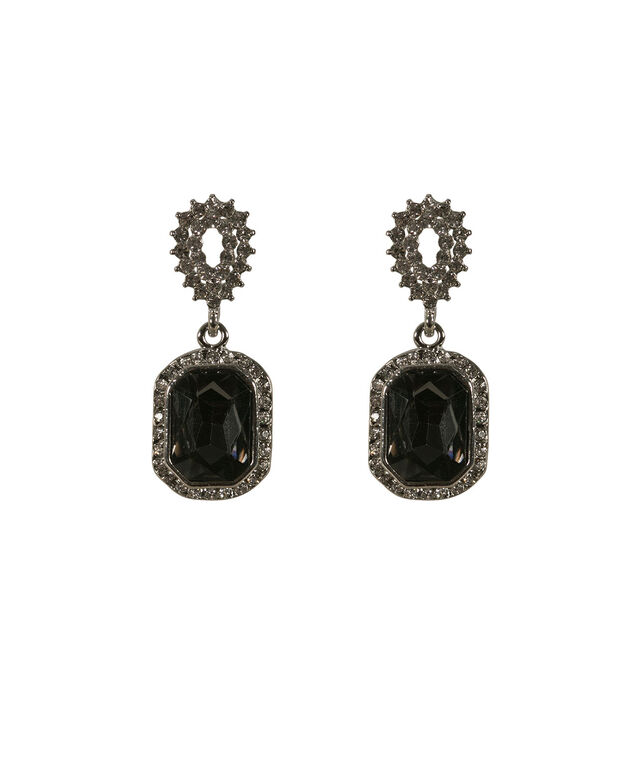 STONE AND CRYSTAL EARRING, Black/Rhodium, hi-res