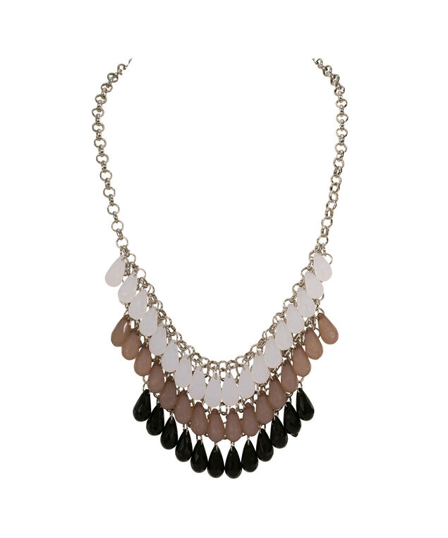 Faceted Tear Drop Stone Bib Statement Necklace, Black/Taupe/White/Rhodium, hi-res
