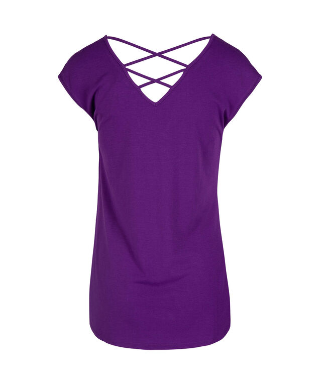 Butterfly Criss-Cross Back Knit Tee, Grape, hi-res