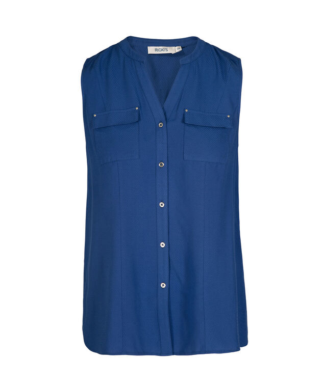 Sleeveless Button Front Henley Blouse, Blue, hi-res