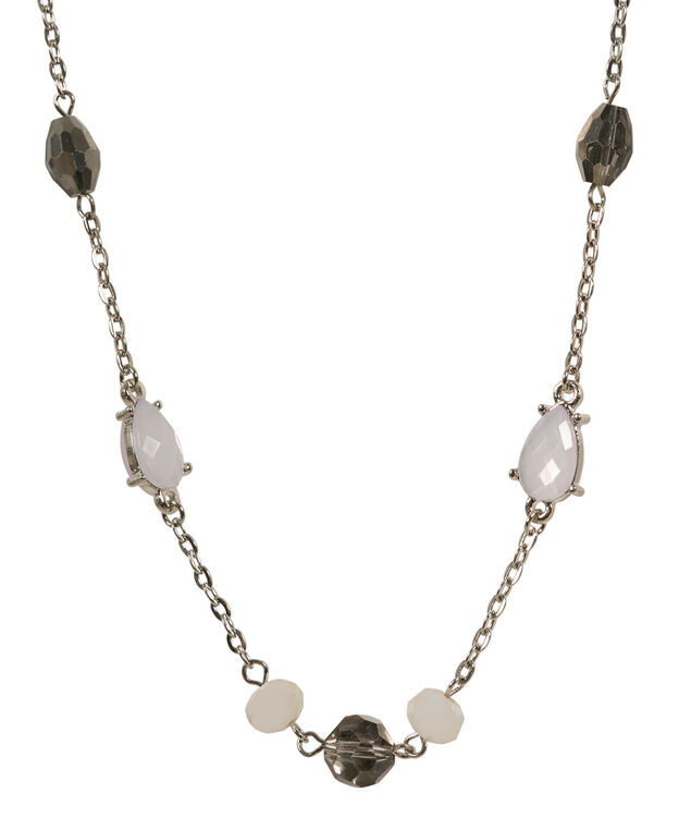 Bead and Faceted Stone Necklace , Lavender/Rhodium, hi-res