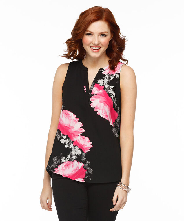 Sleeveless Henley Top, Black Print, hi-res