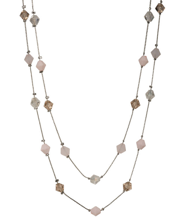 STATIONED BEAD NECKLACE, Blush Pink/Rhodium, hi-res