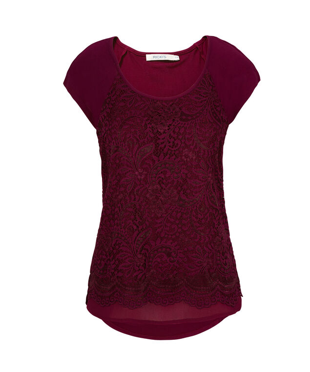 Lace Tee, Burgundy, hi-res