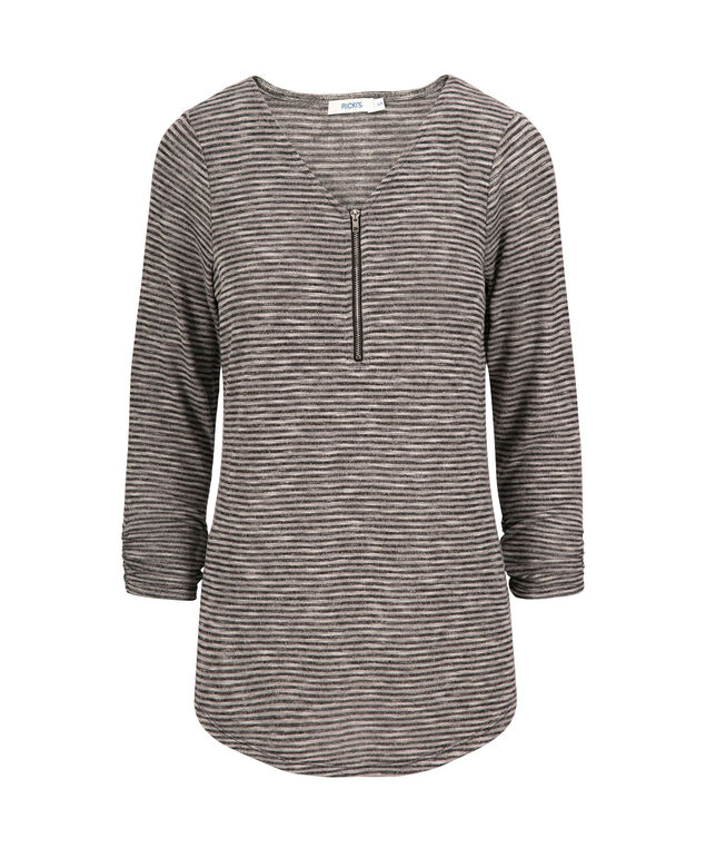 Zip Front Pullover Top, Grey Stripe, hi-res