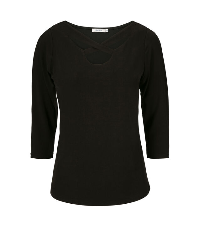 Cut-Out Neck Top, Black, hi-res