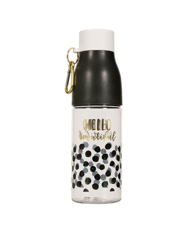 Hello Beautiful Water Bottle, Black/Clear, hi-res