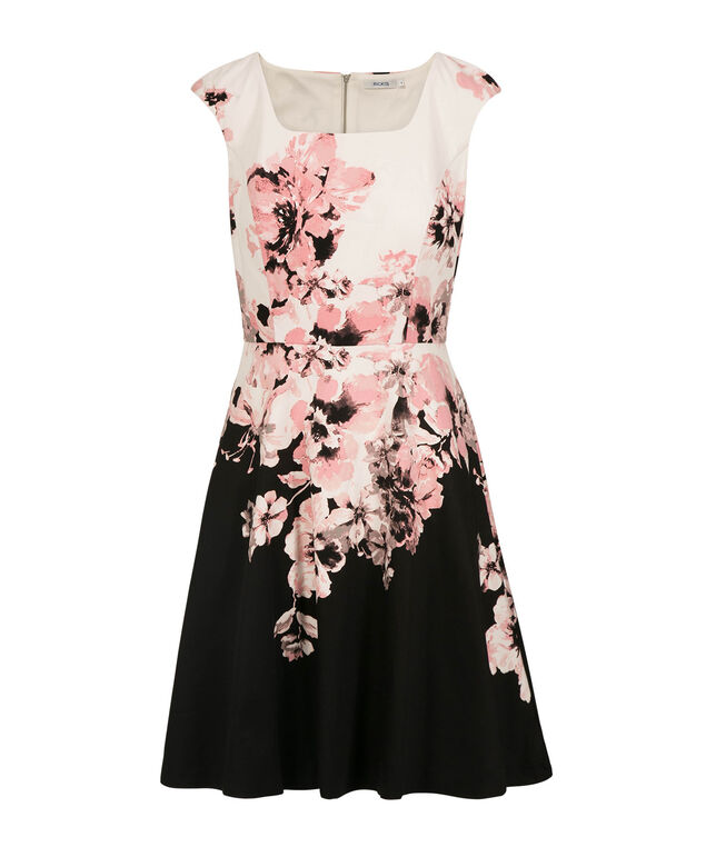 Extended Sleeve Floral Print Dress, Rosewater Print, hi-res