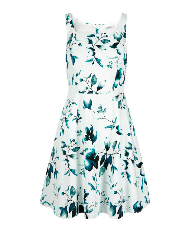 Sleeveless Square Neck Dress, Milkshake/Teal Print, hi-res