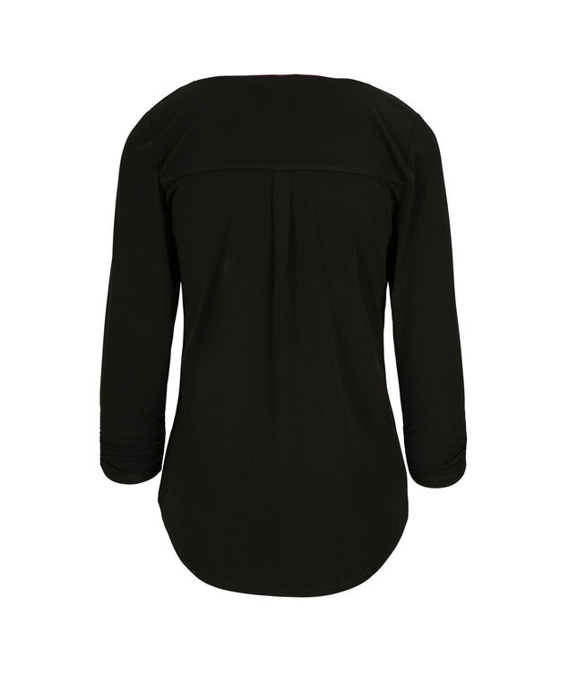 3/4 Sleeve V-Neck, Black, hi-res