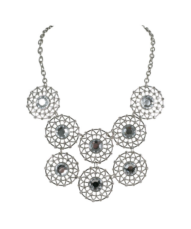 Crystal Open Circle Statement Necklace, Clear/Rhodium, hi-res
