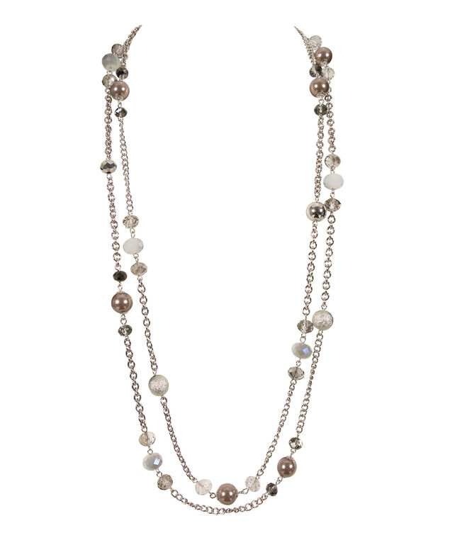 Double Strand Stationed Crystal Necklace, Grey/Rhodium, hi-res