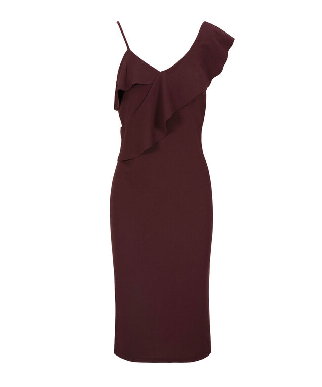 Ruffle Shoulder Detail Dress, Port, hi-res