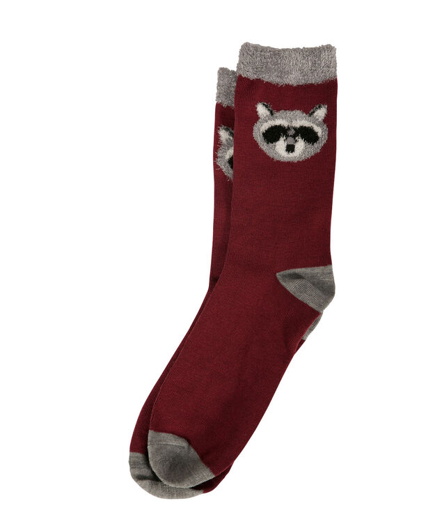 Basic Raccoon Socks, Cranberry/Grey, hi-res