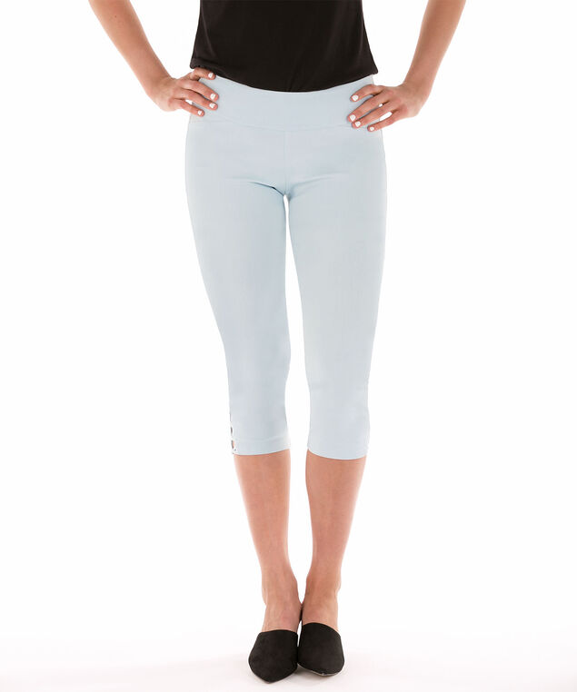 Microtwill Criss Cross Hem Capri, Frosted Blue, hi-res