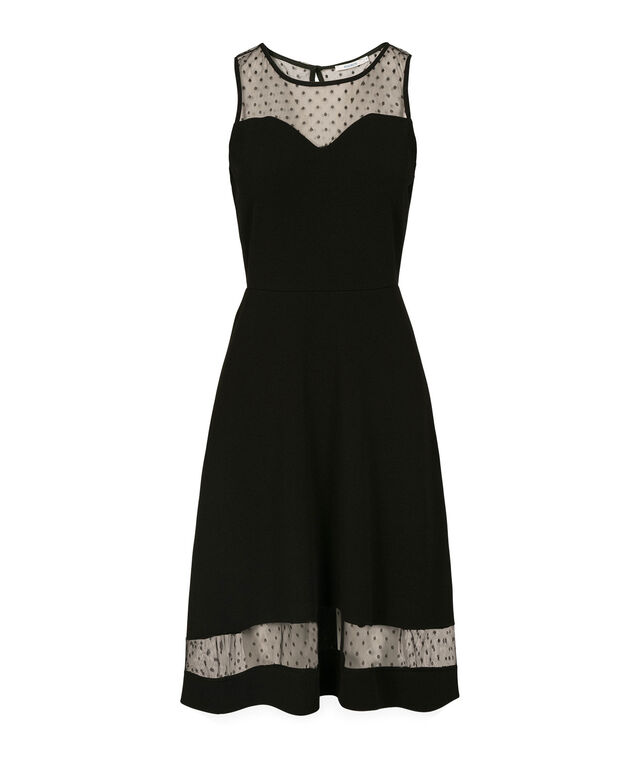 Illusion Neck High-Low Dress, Black, hi-res