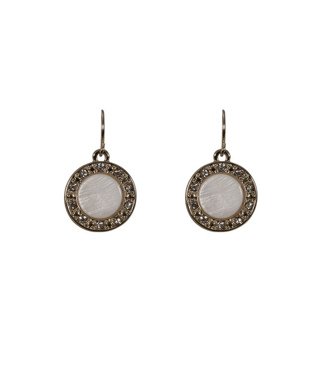 Stationed Natural Stone Earring, White/Soft Gold, hi-res