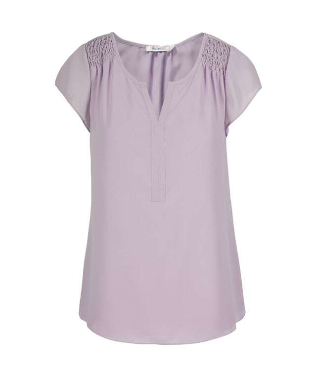 Smocked Shoulder V-Neck Blouse, Lavender, hi-res