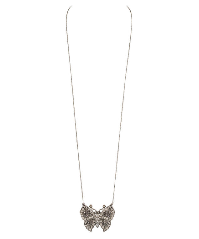 Pearl & Crystal Butterfly Necklace, White/Clear/Rhodium, hi-res
