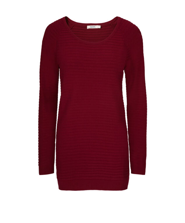 Ribbed Scoop Neck Pullover, Cranberry, hi-res