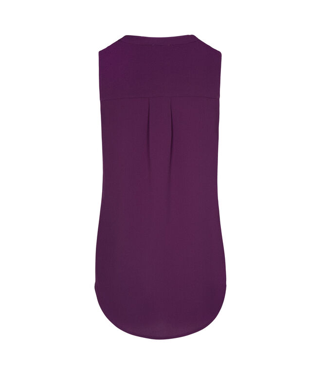 Sleeveless Henley Blouse, Ultra Purple, hi-res